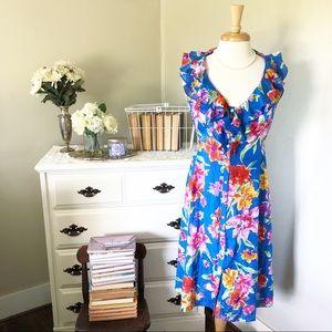 Ralph Lauren floral 100% silk summer midi dress